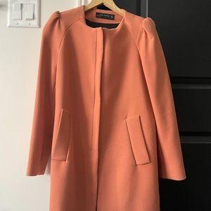 Zara zip peach pocket coat